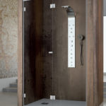 Скляна складна душова кабіна на петлях у виконанні в італійській фурнітурі Metalglas